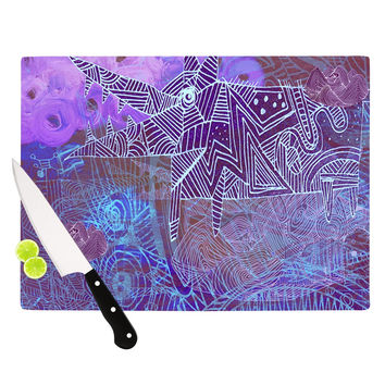 "Marianna Tankelevich ""Abstract With Wolf"" Purple Illustration Cutting Board"