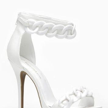 Wild Diva White Oversized Chain Ankle Strap Heel @ Cicihot Heel Shoes online store sales:Stiletto Heel Shoes,High Heel Pumps,Womens High Heel Shoes,Prom Shoes,Summer Shoes,Spring Shoes,Spool Heel,Womens Dress Shoes,Prom Heels,Prom Pumps,High Heel Sandals