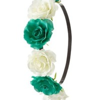 Multi Two-Tone Rose Flower Crown by Charlotte Russe