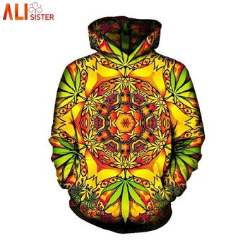 Alisister Psychedelic Weed Hoodies Sweatshirt Men Women Autumn Winter Hooded With Cap Sudaderas Hombre Brand Tracksuit Dropship