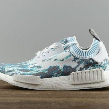 Adidas NMD X Supreme Women Men Fashion White Blue Grey Casual Running Sports Shoes Sneakers I