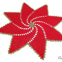 Christmas Doilies, Christmas Gift, Round Doily, Gold Doily, Red Doily, Table Decoration, Centrino Natale  (Cod. 74)