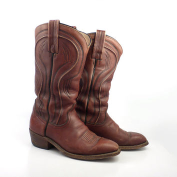 Frye Cowboy Boots Vintage 1980s Rust Brown Leather Men's size 8 D