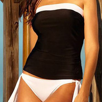 Open Back Black and White Tankini