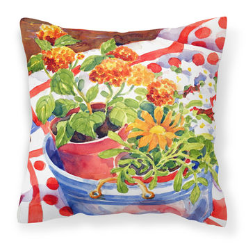 Flowers with a side of lemons  Decorative   Canvas Fabric Pillow