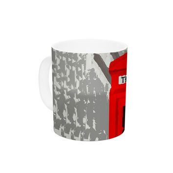 "Oriana Cordero ""London"" Red Gray Ceramic Coffee Mug"
