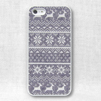 iPhone 5 Case, iPhone 4 Case, iPhone 4S Case, iPhone Case  - Grey Fair isle pattern - 166