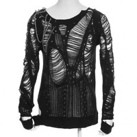 Black destroyed cardigan with spikes by RQ-BL clothing