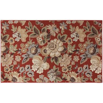 Mohawk Home Red Floral PermaStrand Rug - 3' x 5' (Brown)