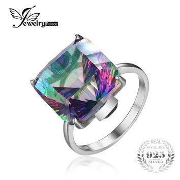 JewelryPala Square 13ct Fire Mystic Topaz Ring For Women Solid 925 Sterling Silver Jewelry Fashion Brand Fine Jewelry 2017 New