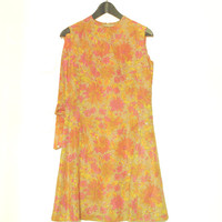 Vintage Floral Dress, Sleeveless Dress, Pastel 60's Dress, Pink And Yellow Flowers On Beige Background, Made in Finland
