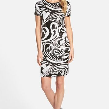 Women's MICHAEL Michael Kors Paisley Sequin Short Sleeve Shift Dress,