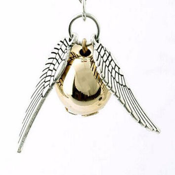 Harry Necklace 2015 Popular Vintage Style  Angel Wing Charm Golden Snitch Pendent Necklace For Men 2 Colors Choose