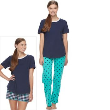 Juniors' SO® Pajamas: Knit Pants, Shorts & Short Sleeve Top 3-Piece PJ Set | null