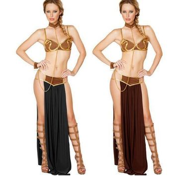 free shipping 2017 New Sexy Carnival Star Wars Cosplay Princess Leia Slave Costume Dress Gold Bra and Neckchain