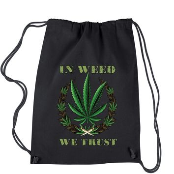 In Weed We Trust Drawstring Backpack