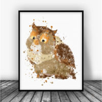 Bambi Friends Owl Art Print Poster