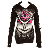 Heartless Clothing Gothic Rockabilly Night Owl Lace up Sleeves Black Hoodie