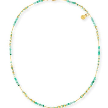 Gurhan Delicate Rain Strand Necklace w/ Emeralds
