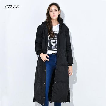 Ftlzz New Winter Women Down Coats Medium long 90% White Duck Down Jacket Hooded Parkas Thickness Outwear Loose Fit Warm Overcoat