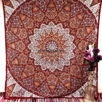 Hippie Tapestries, Psychedelic Elephant starMandala Tapestry Wall Hanging, Indian Bedspread Bohemian Room Décor, Dorm Bedding Tapestry Art