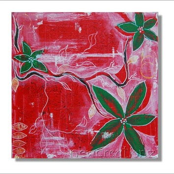 Insant download Christmas painting triptych contemporary art green and red leaves flowers