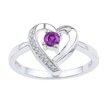 Sterling Silver Womens Round Lab-Created Amethyst Diamond Heart Ring 1/4 Cttw