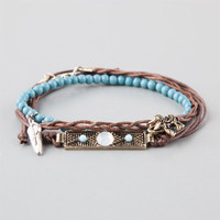 Full Tilt 3 Piece Braided/Turquoise/Feather Bracelets Brown One Size For Women 25260540001