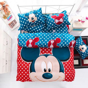 Cartoon Blue Mouse Bedding Sets 3/4pcs Geometric Pattern Bed Linings Duvet Cover Bed Sheet Pillowcases Cover Set for Kid