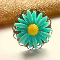 Vintage ring brass adjustable teal blue-green daisy flower ring