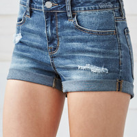 Bullhead Denim Co. Repair Wash Ripped Mid Rise Super Stretch Denim Shorts at PacSun.com