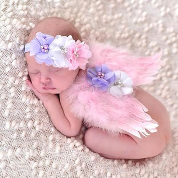 Adorable!!! Baby Girls Newborn  Flower Headband+Tutu Skirt Pink Angel Photo Prop Outfit