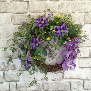 Purple Spring Wreath, Easter Wreath, Front Door Wreath, Silk Floral Wreath, Outdoor Wreath, Mother's Day Gift, Valentines Day, Summer, Etsy