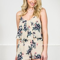 Ivory Turquoise Floral Romper