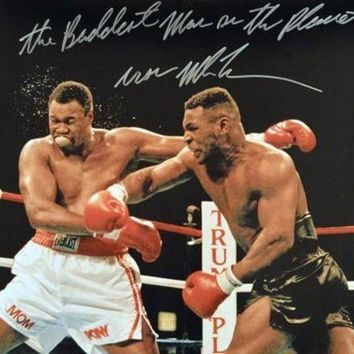 LMFONY Mike Tyson Signed Autographed 'The Baddest Man On The Planet' Glossy 16x20 Photo vs. Larry Holmes (ASI COA)