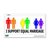 I Support Equal Marriage - Gay Lesbian Rights Equality Sticker