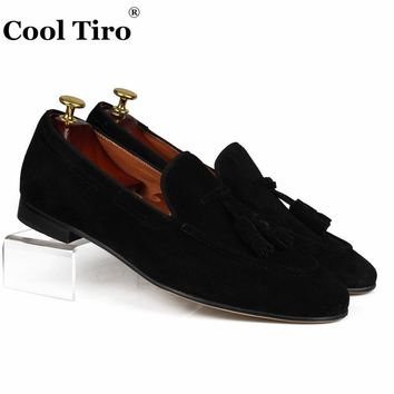 Cool Tiro Black Suede Men's Loafers Tassels