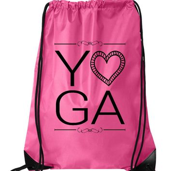 "Drawstring Gym Bag  ""yoga""  Funny Workout Squatting Gift"