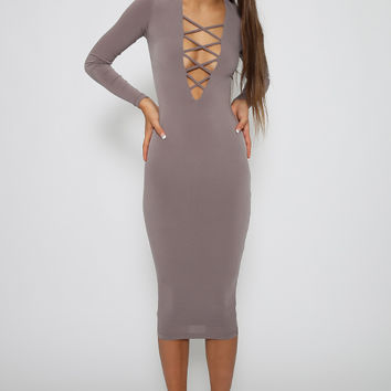 Nookie - Ti Amo V Neck Criss Cross Dress - Mocha