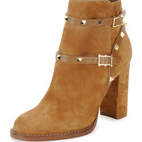 Rockstud Suede Chunky-Heel Boot, Tan - Valentino
