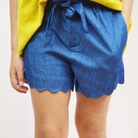 scalloped paper bag shorts - blue