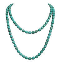 Fancy Long Turquoise Beads Clusters Necklace