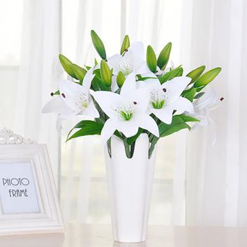 5pcs Real Hand Feel Lily Artificial Flower Bouquets Home Wedding Bridal Decor Single Branch Decorative Flowers 3 Color
