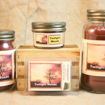 Twilight Woods Candle and Wax Melts, Nature Scent Candle, Highly Scented Candles and Wax Tarts, BBW Type Scent, Mason Jar Candles