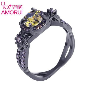 AMORUI Vintage Yellow Birthstone Engagement Ring Bague Black Gold Color CZ Stone Flower Weddings Rings for Women/Men Jewelry