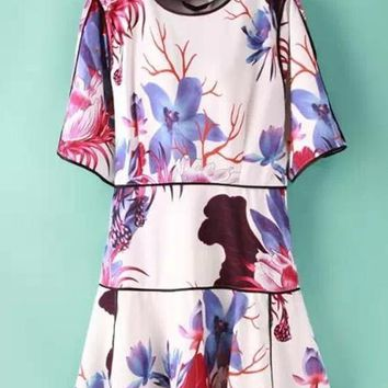 White Flowers Patchwork Print Round Neck Bell Sleeve Dress
