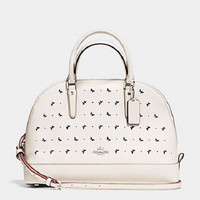 New COACH F59344 Sierra Dome Satchel In Perforated Crossgrain Leather Handbag Purse Chalk