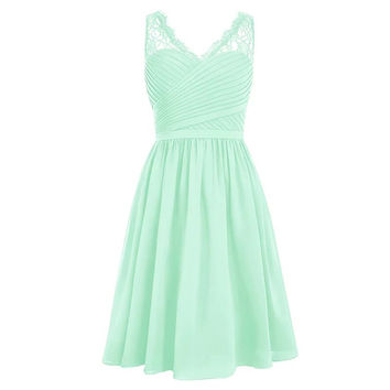 Mint Green Wedding Party Dress Elegant Ruffles Padded Knee Length Lace Party Gowns Chiffon Short Coral Purple Bridesmaid Dress