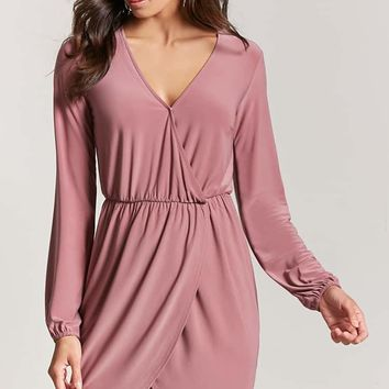 Surplice Mock Wrap Dress