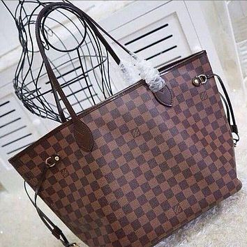 LV Tide brand women's classic wild letter bag shopping bag shoulder bag two-piece Coffee check